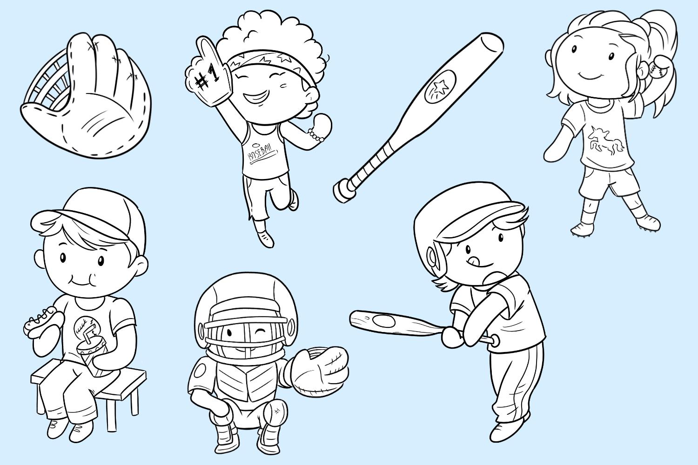 Kids Playing Baseball Digital Stamps example image 3
