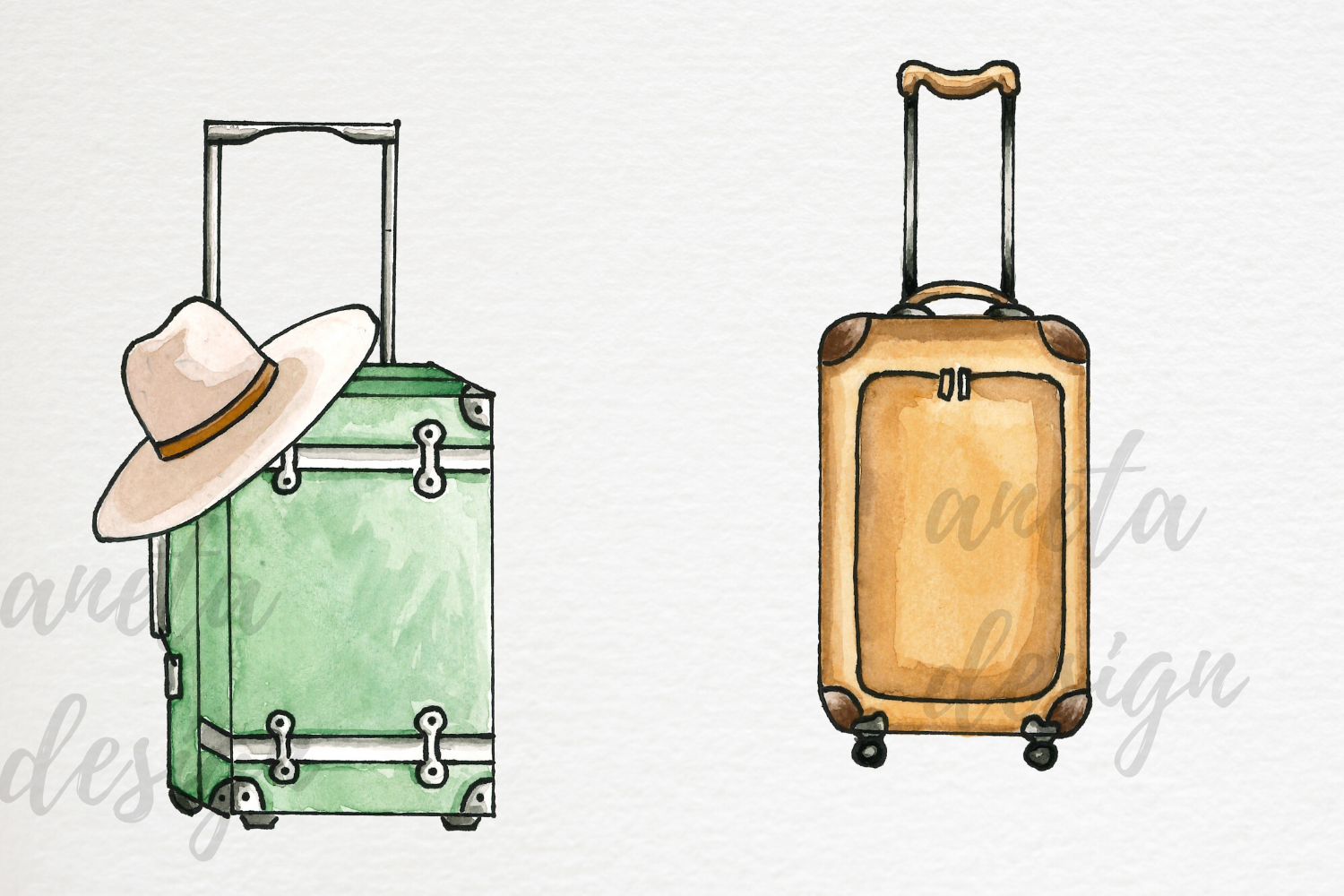 Watercolor Travel Clip Art, Watercolor Suitcases and Bags example image 3