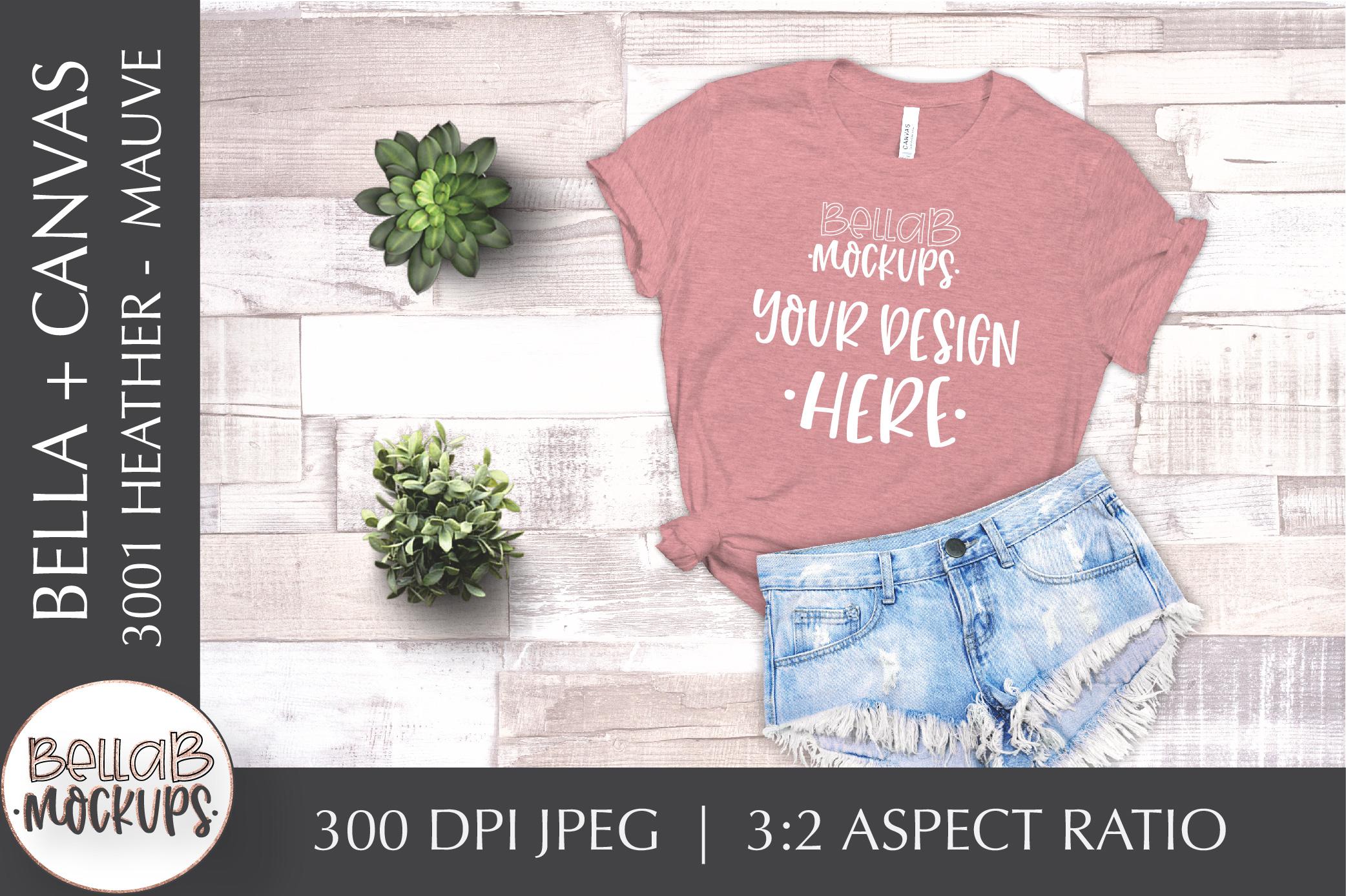 Bella Canvas T Shirt Mockup Bundle, Heather 3001, Summer example image 5