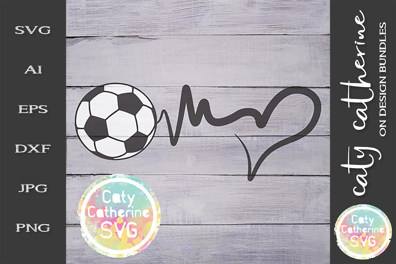 Heartbeat Love Heart Football Soccer SVG Cut File example image 1
