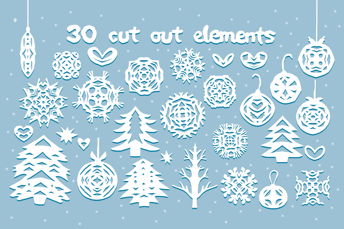 Paper snow. Cut out font & extras. example image 3
