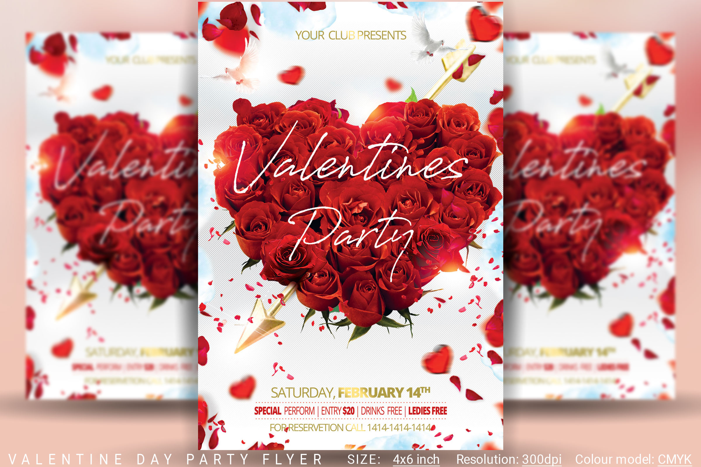 Valentine Day Party Flyer example image 1
