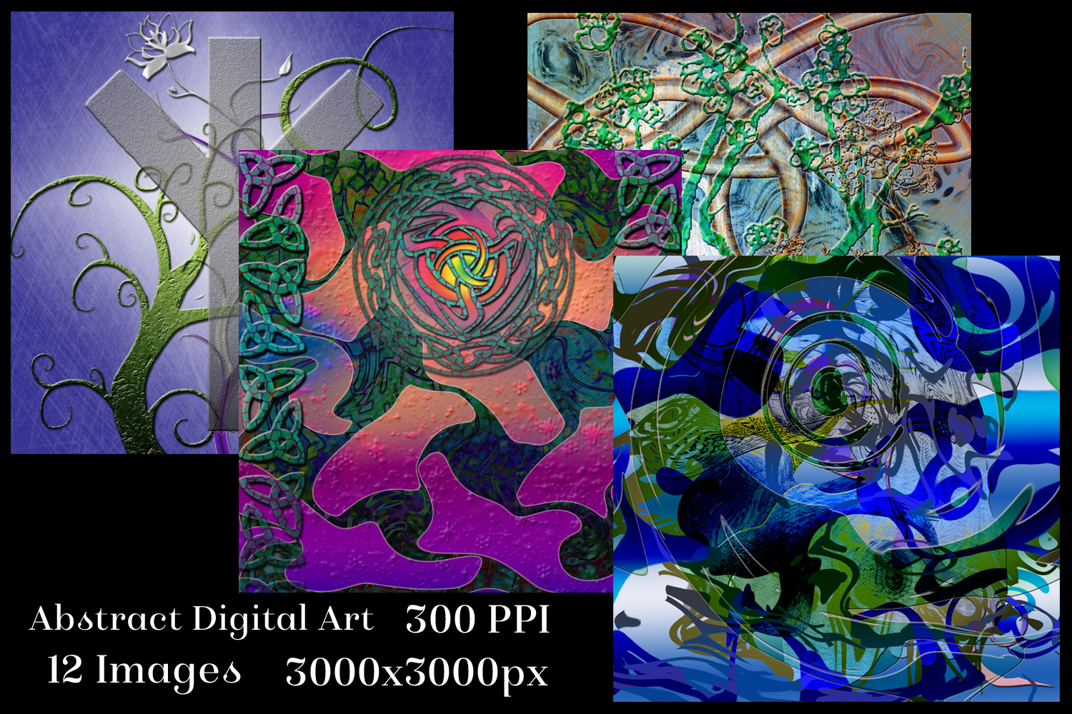 Abstract Digital Art Backgrounds - 12 Image Set example image 2