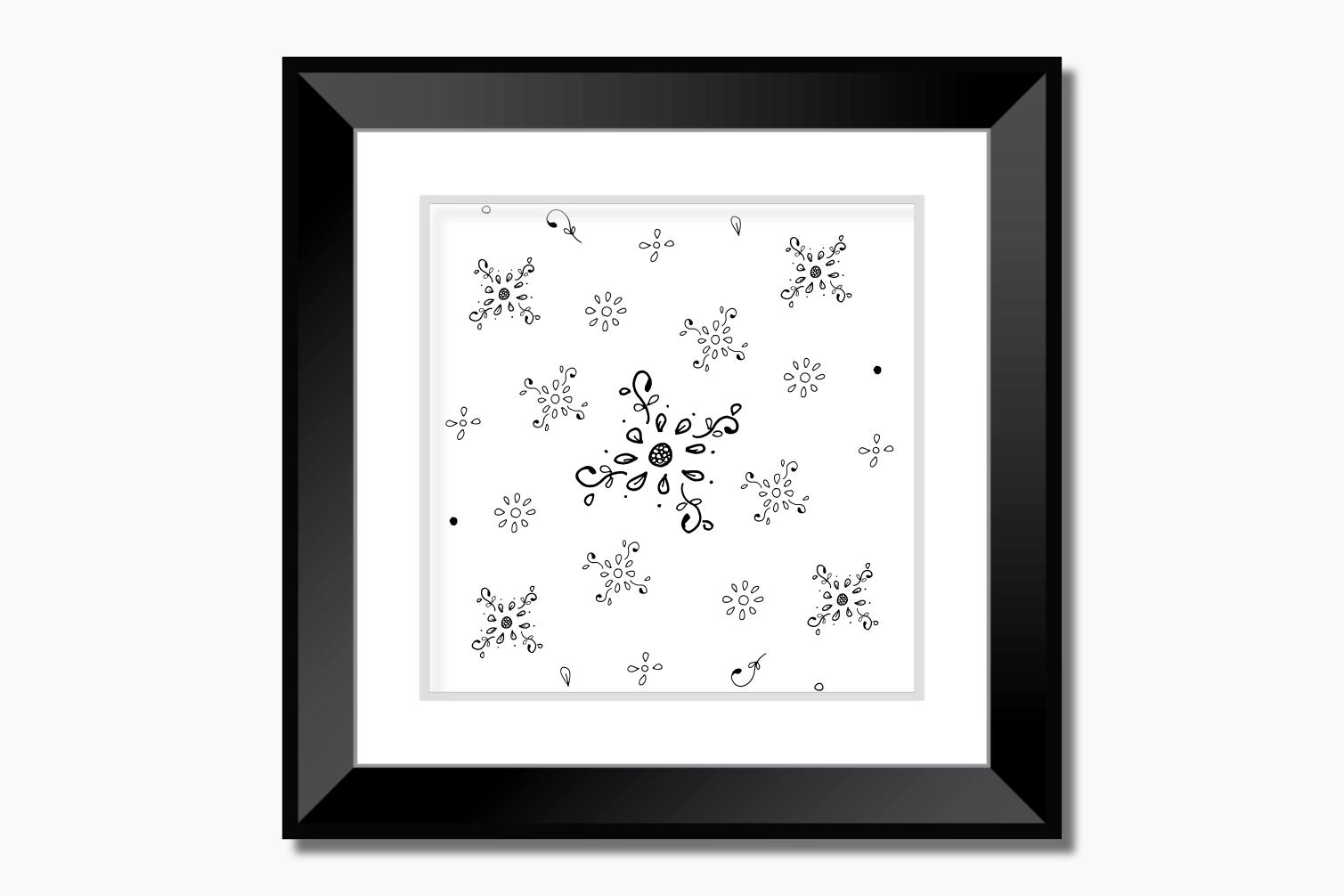Floral Doodle Ink Pattern, A1, SVG example image 6