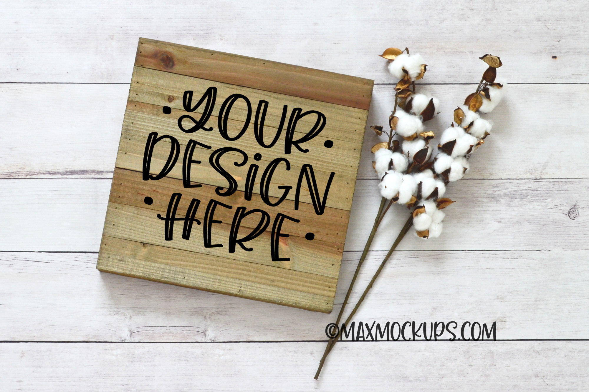 Wood sign mockup, rustic square blank sign flatlay example image 1