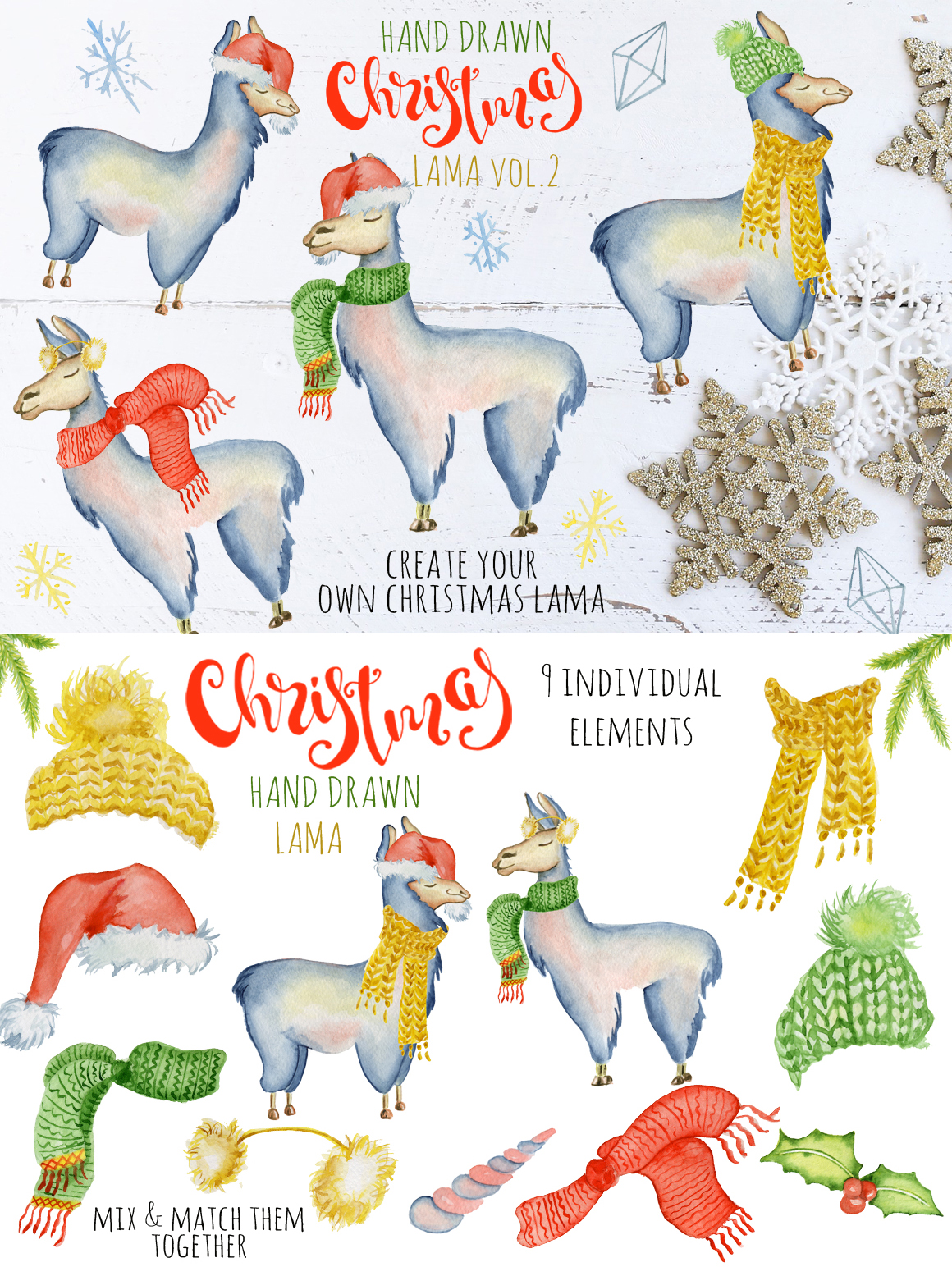 Magical Winter Bundle. Big Watercolor and lettering collection example image 11