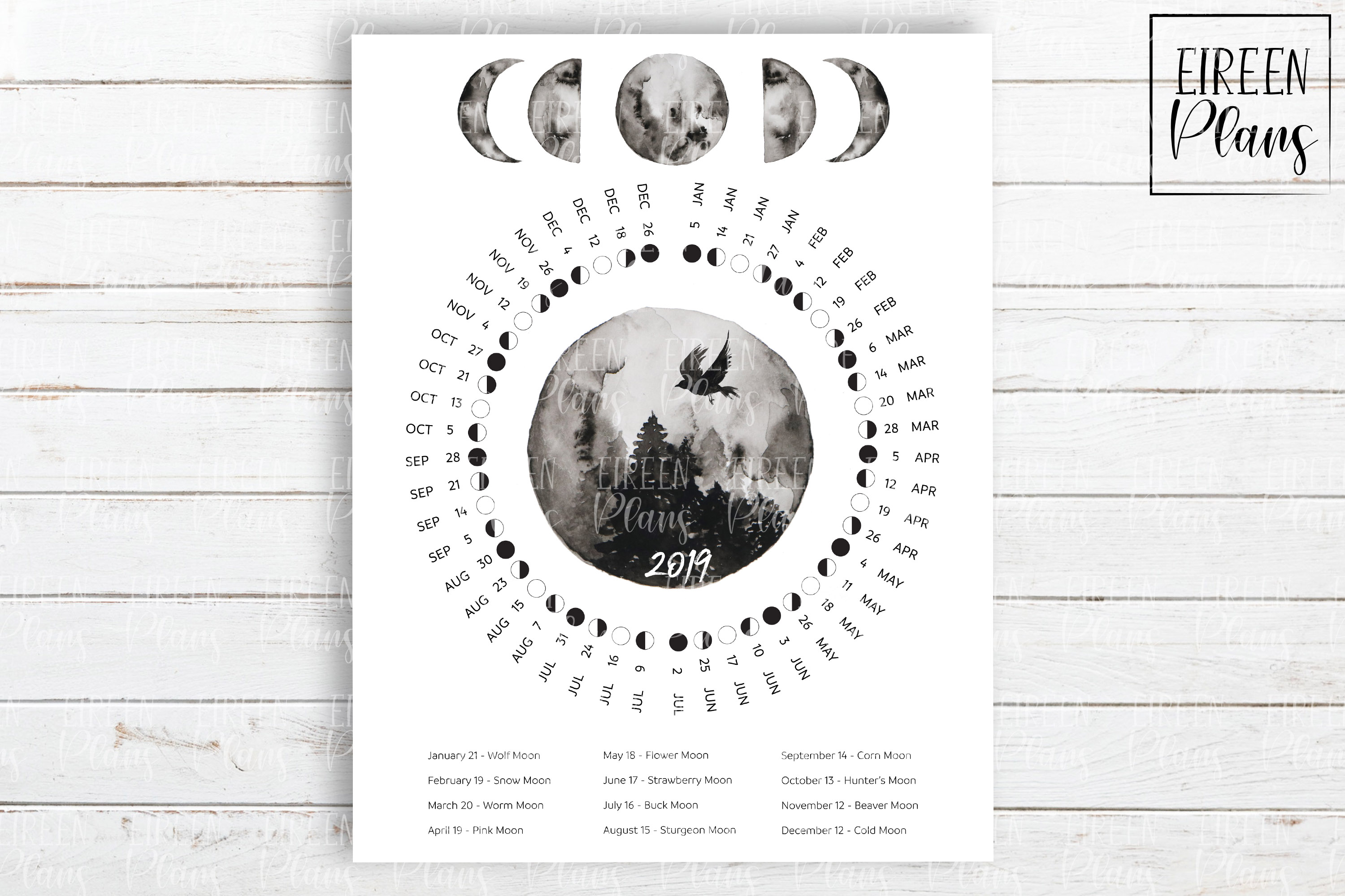 Printable 2019 Moon phases calendar with moon names example image 2