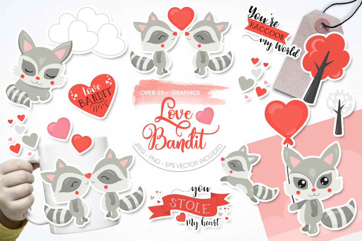 Racoon Love Bandit graphic and illustrations example image 1