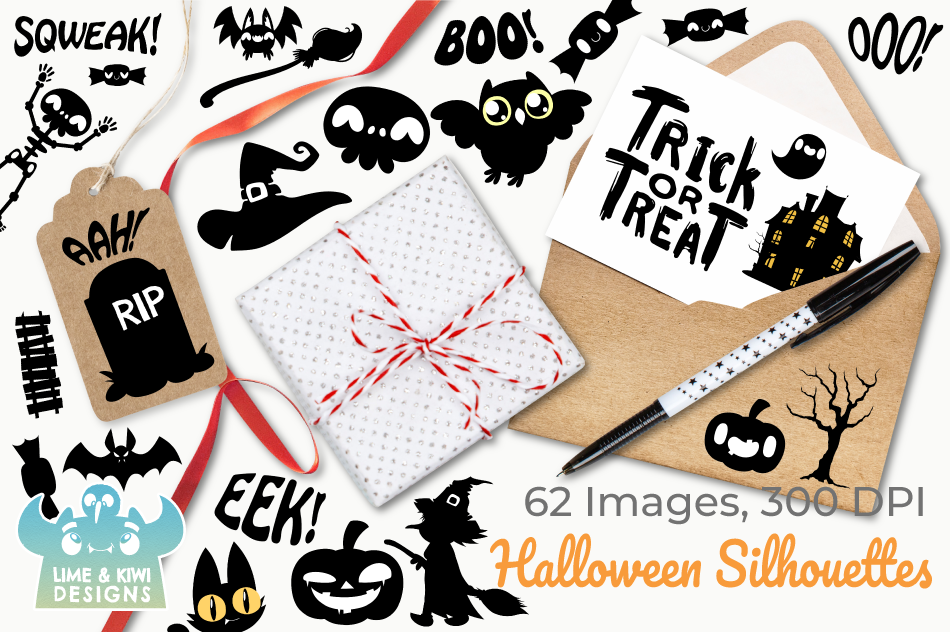 Halloween Silhouettes Clipart, Instant Download Vector Art example image 4