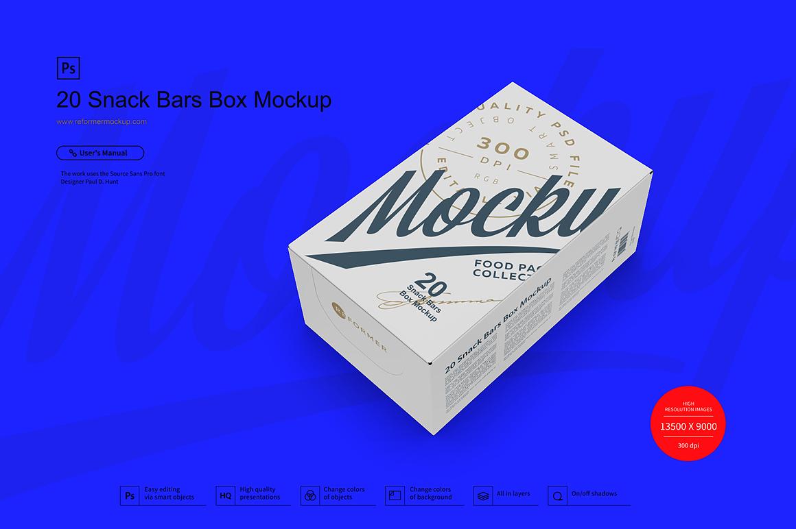 20 Snack Bars Box Mockup example image 3