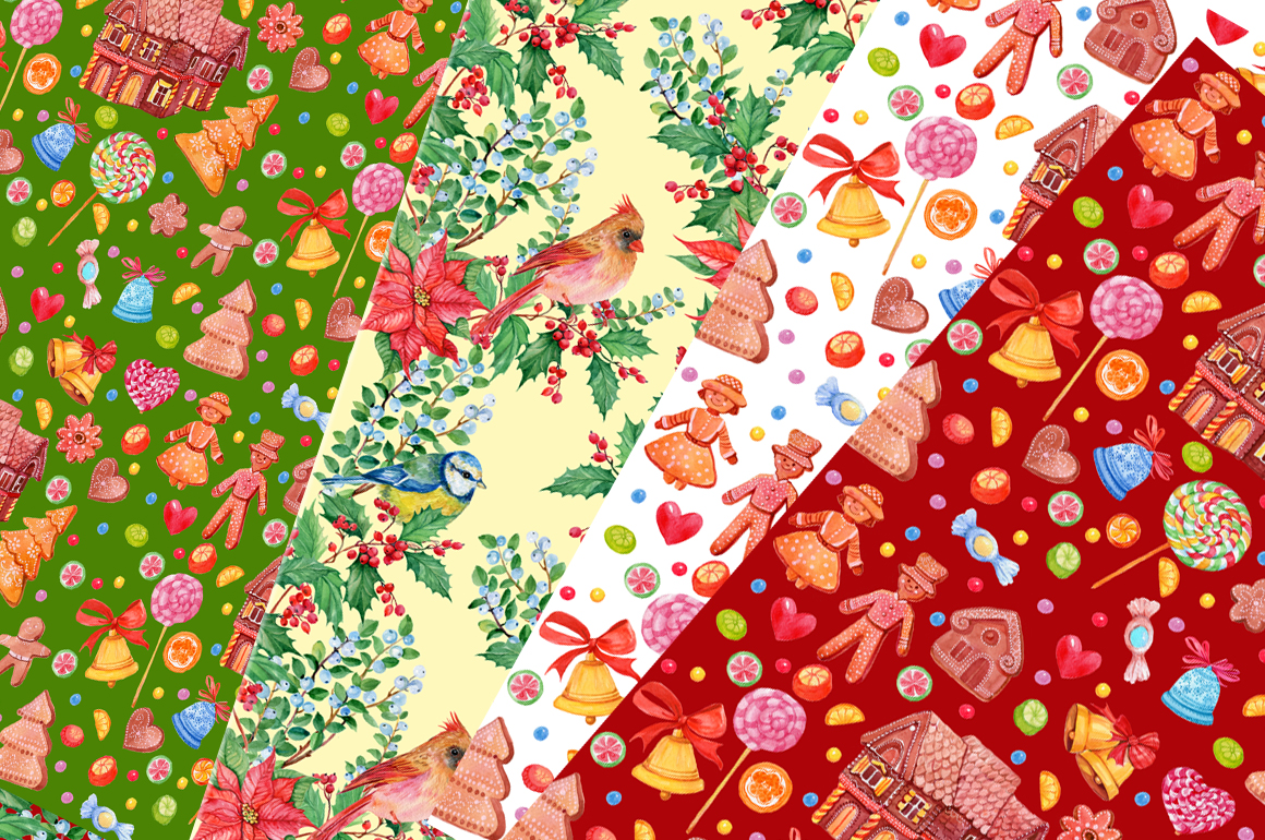 SET OF CHRISTMAS PATTERNS WATERCOLOR example image 3