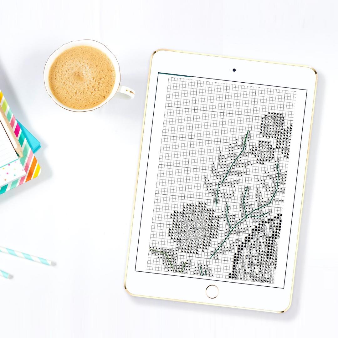 Small Great Purple dragon, Cross stitch pattern PDF example image 5