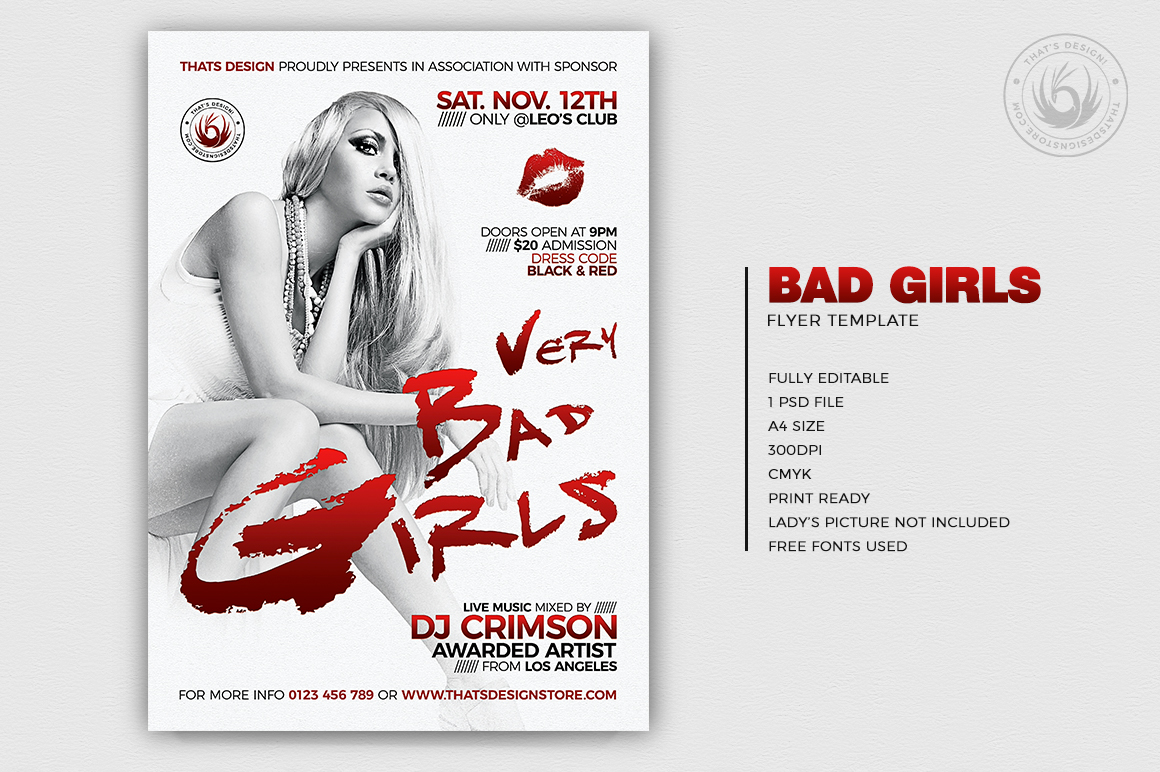 Bad Girls Flyer Template example image 2