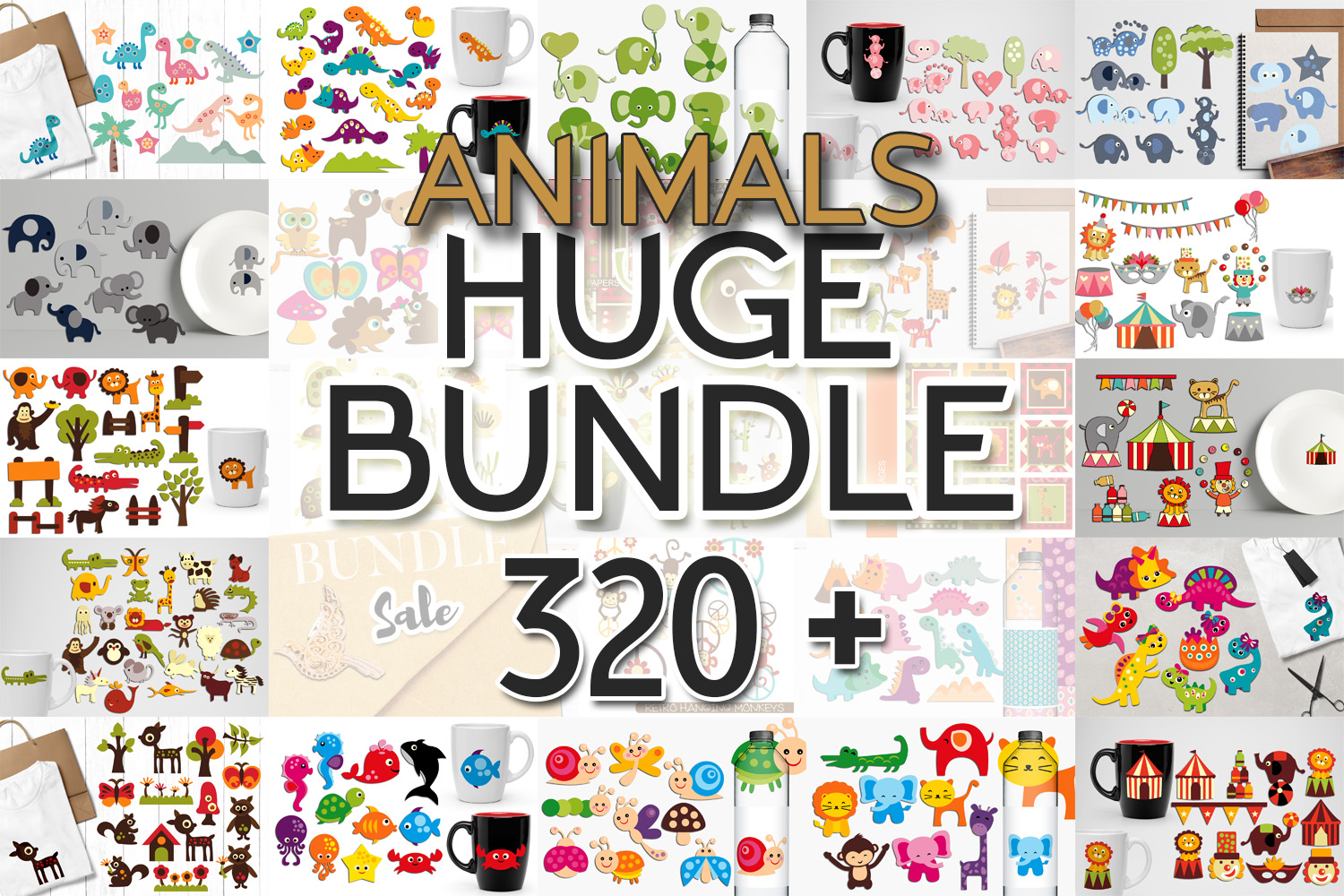 Animals Clip Art Illustrations Huge Bundle example image 1