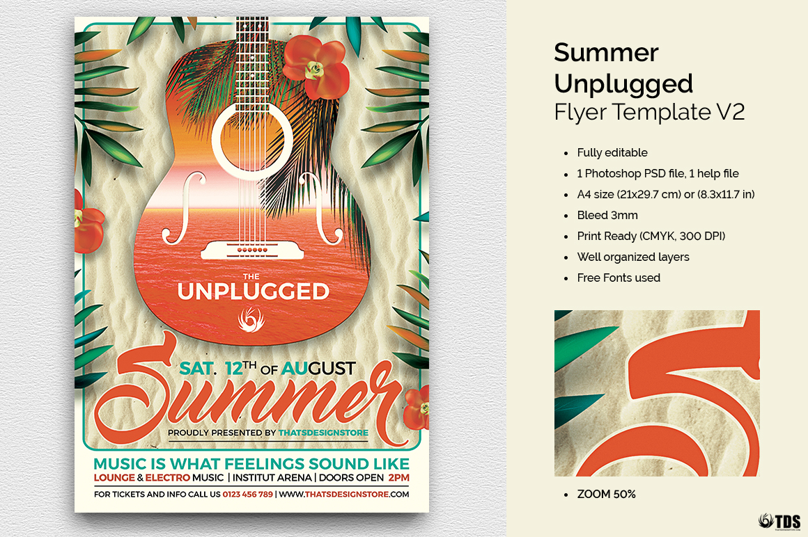 Summer Unplugged Flyer Template V2 example image 1