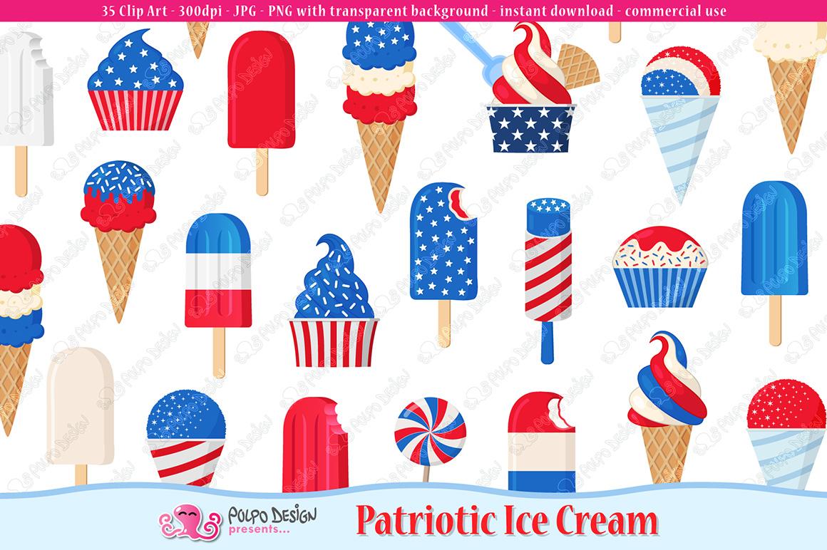 Patriotic Ice Cream clip art example image 1