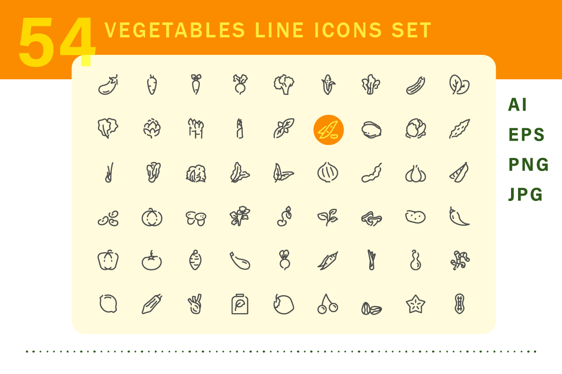 Vegetable icons set example image 2