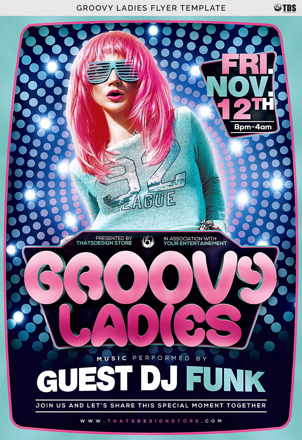 Groovy Ladies Flyer Template example image 7