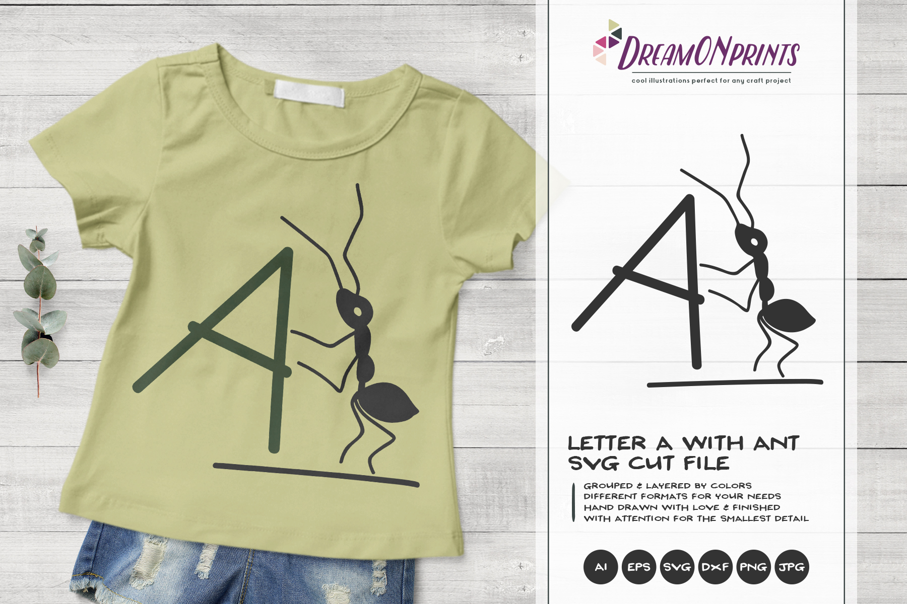 Monogram Letter A SVG Cut File | Alphabet Letter A with Ant example image 1