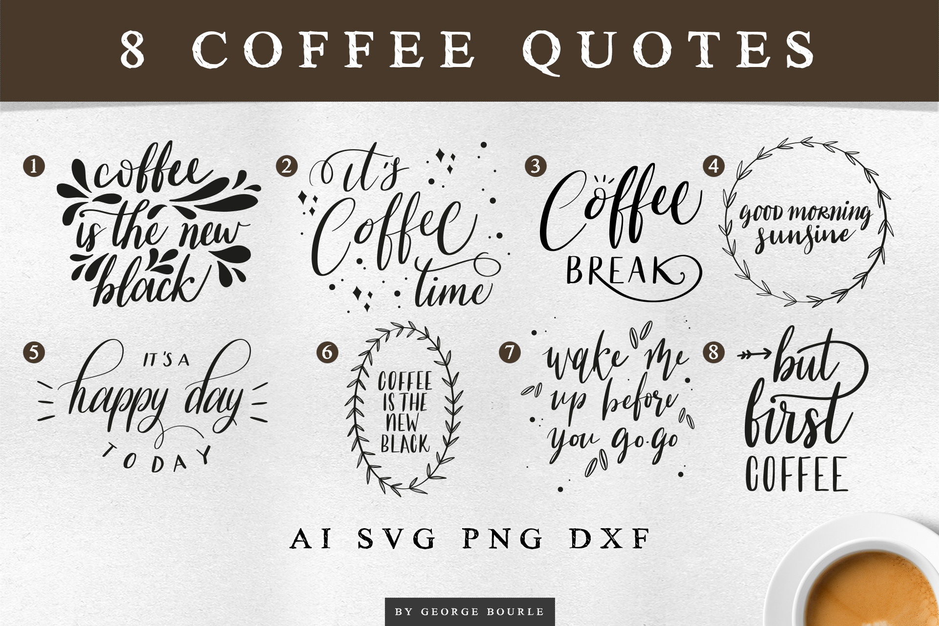 Coffee Quotes | SVG cut files example image 2