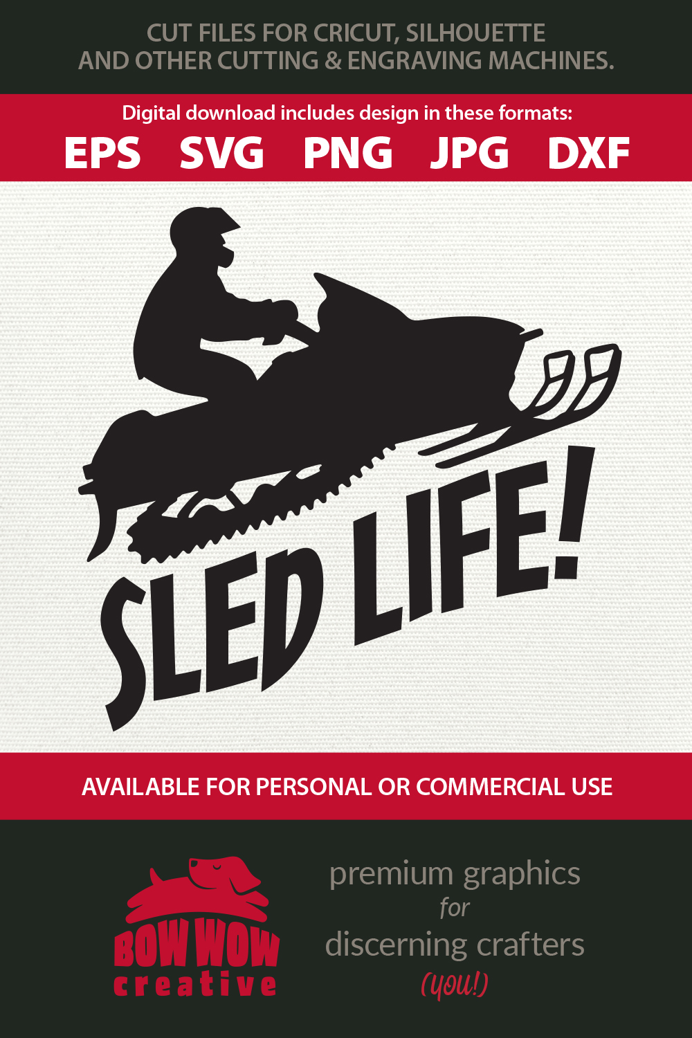 Sled Life Snowmobile / Snow Machine SVG, EPS, JPG, PNG, DXF example image 2
