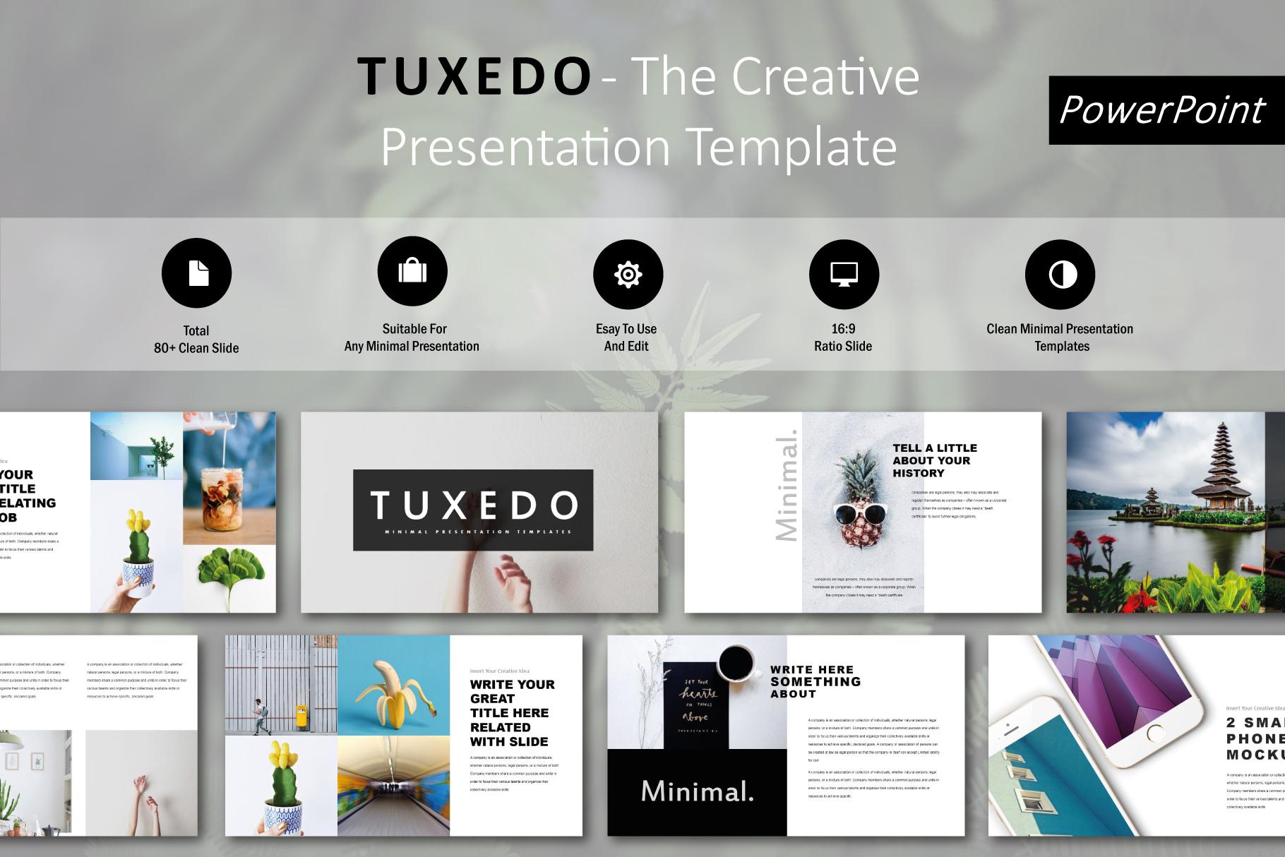 Tuxedo Minimal PowerPoint Templates example image 1
