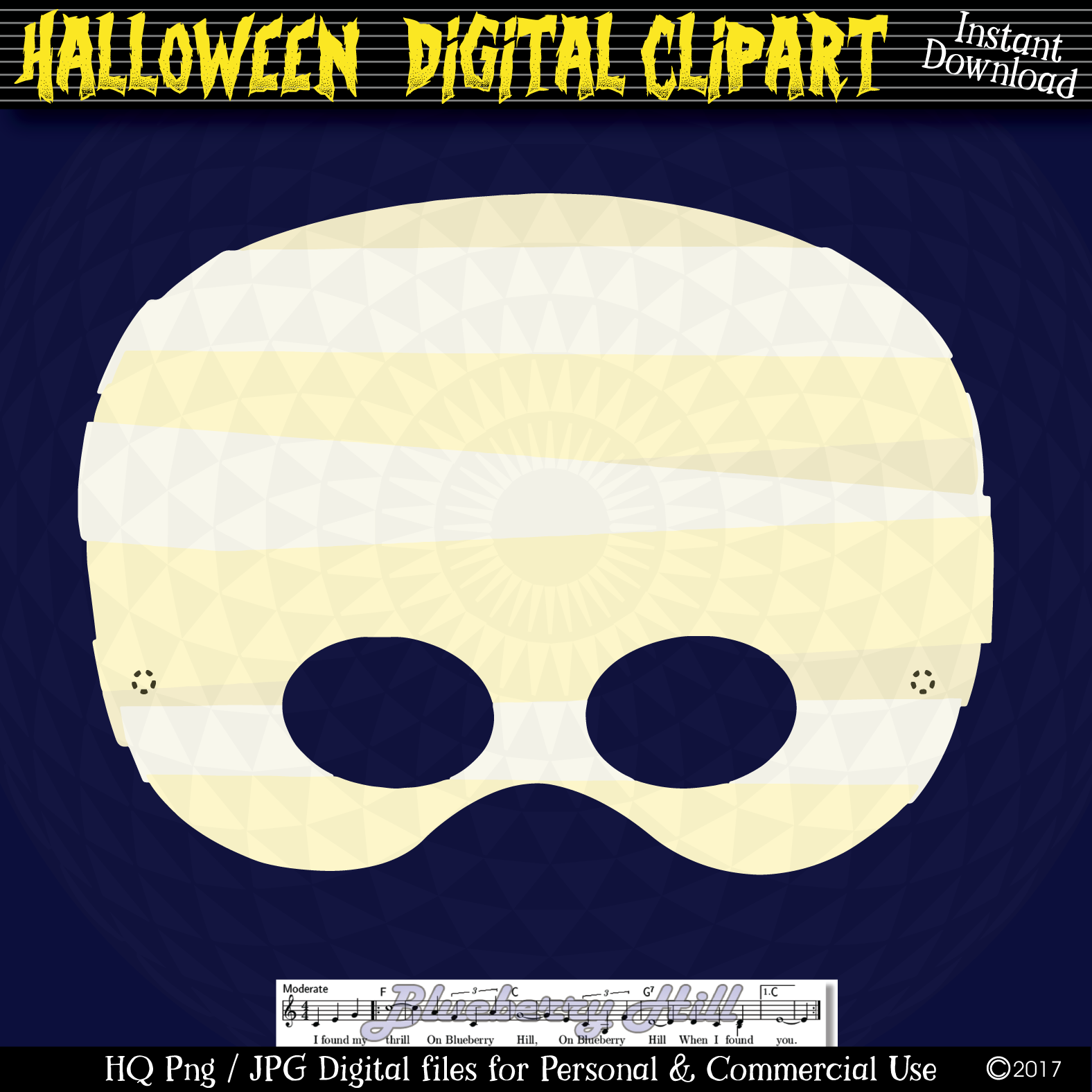 Halloween Party Masks printable, DIY Halloween Digital Clip example image 5