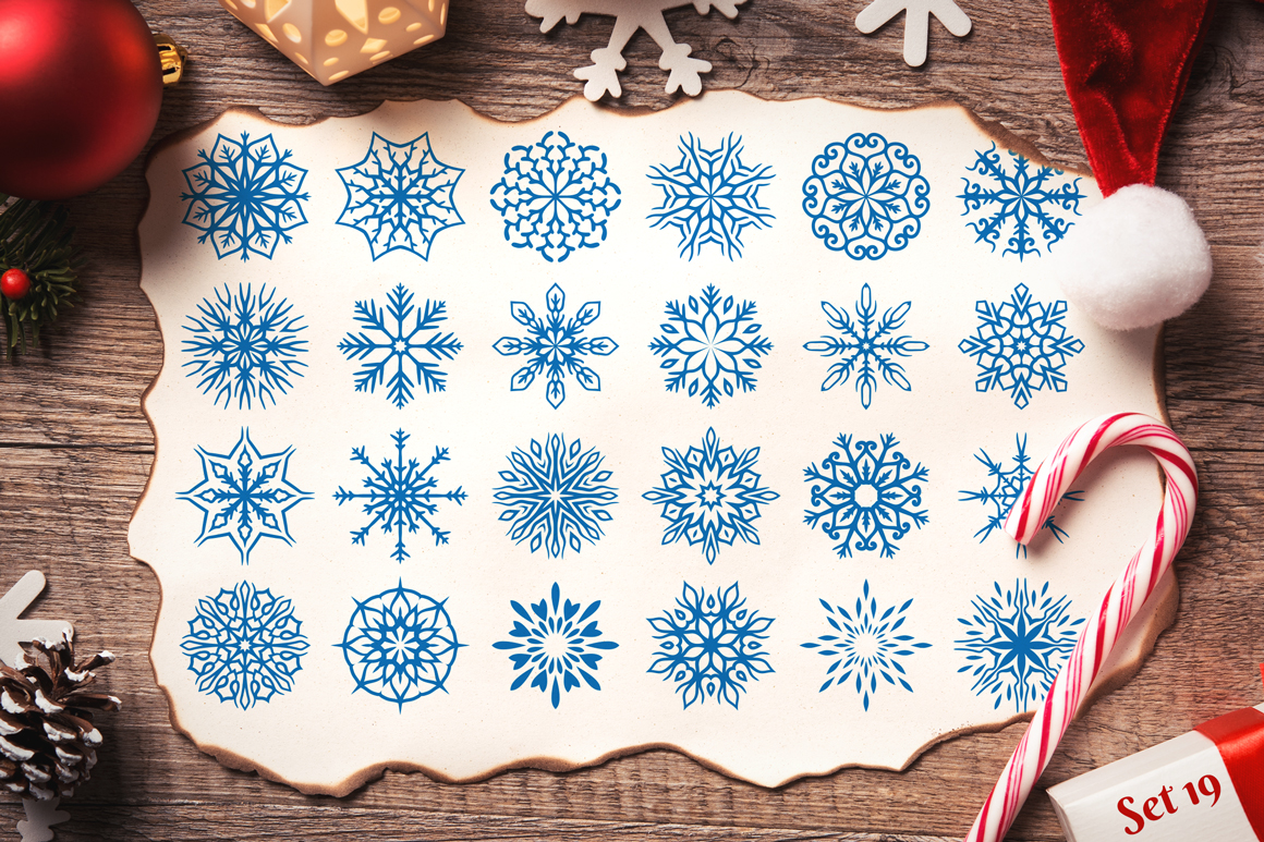 500 Snowflake Vector Ornaments example image 28