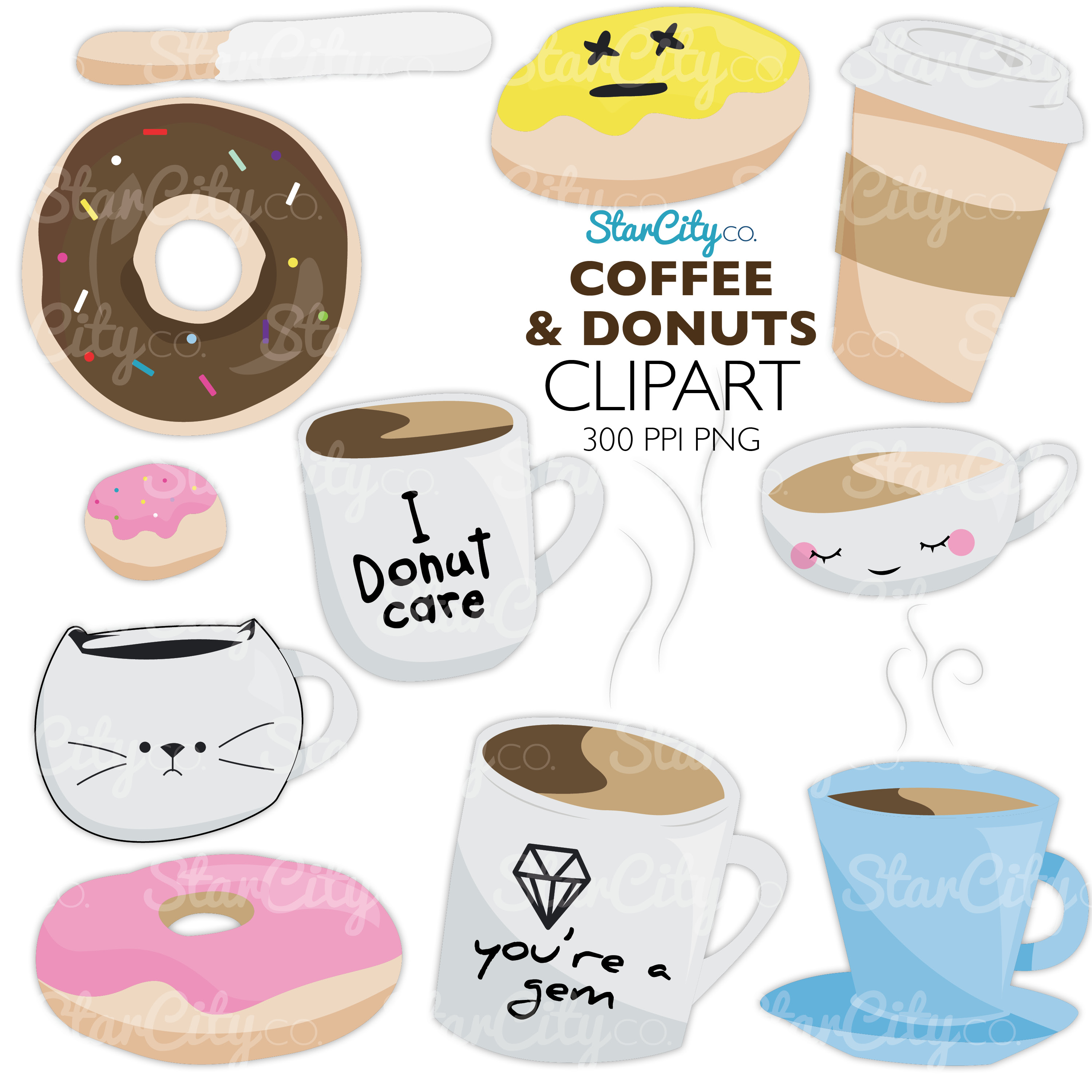 Coffee & Donut Clipart Graphics for commercial use example image 3