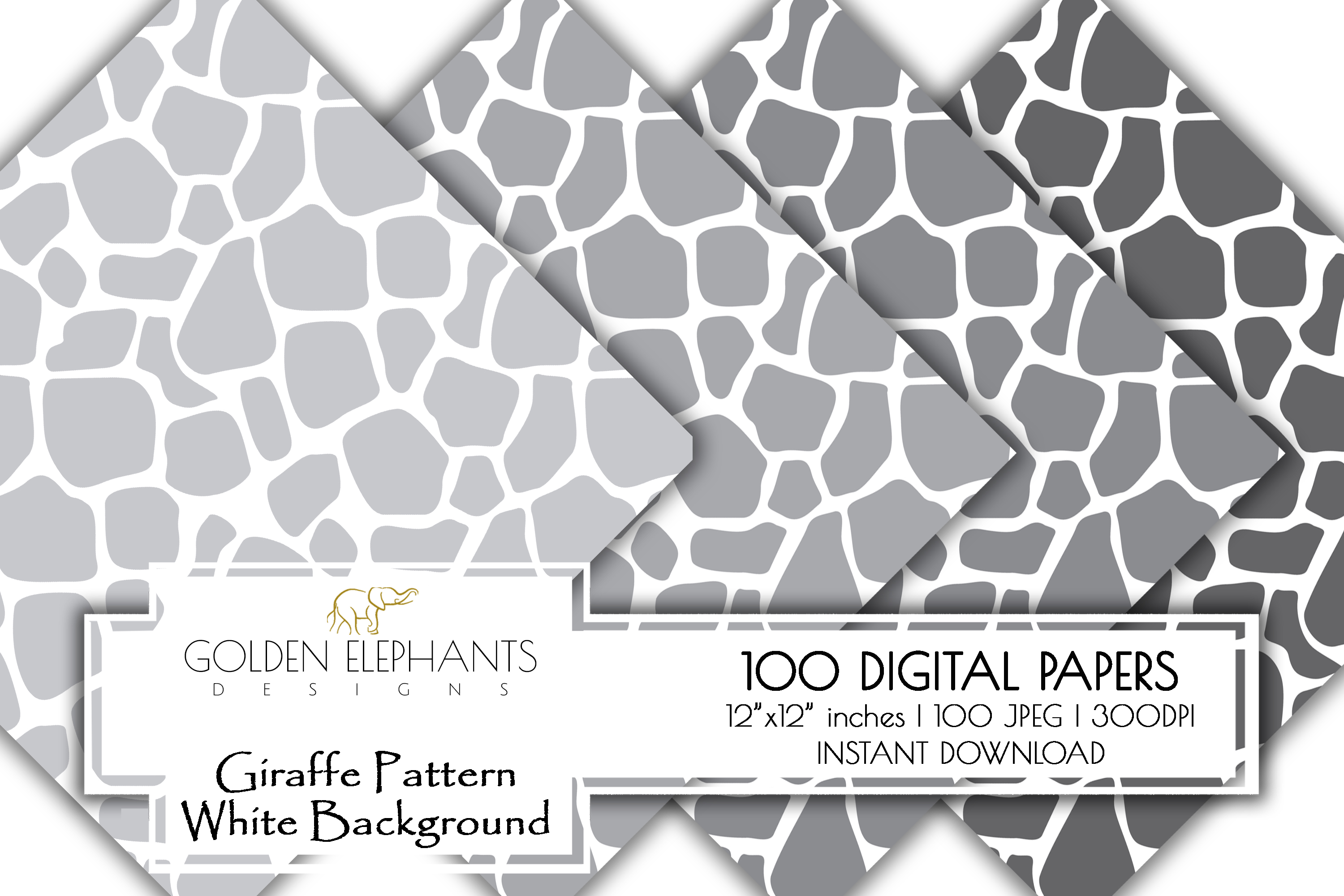 100 Giraffe Pattern w/ White Background Digital Paper example image 9