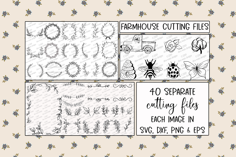 Farmhouse Cutting Files Bundle Elements Florals Wreaths More example image 1