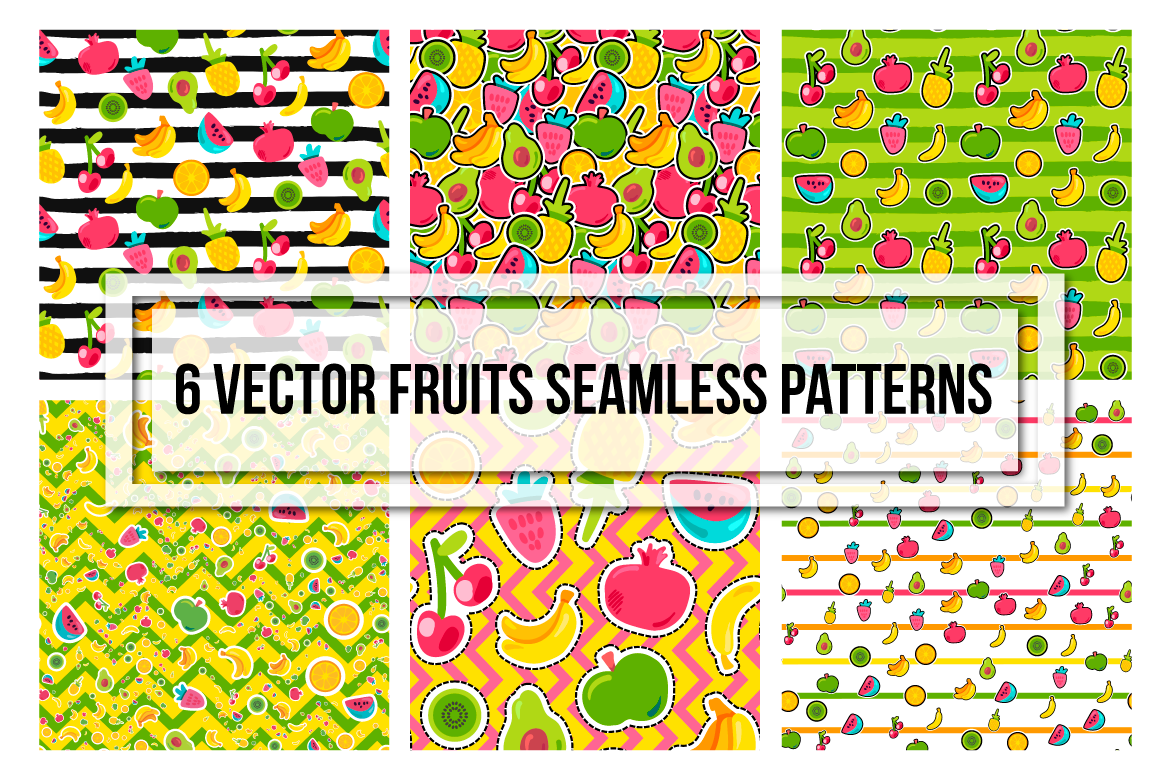 Happy Fruits Seamless Patterns example image 3