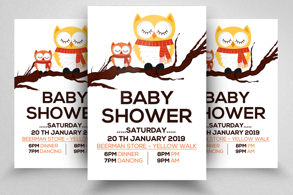 4 Baby Shower Flyers Bundle example image 2