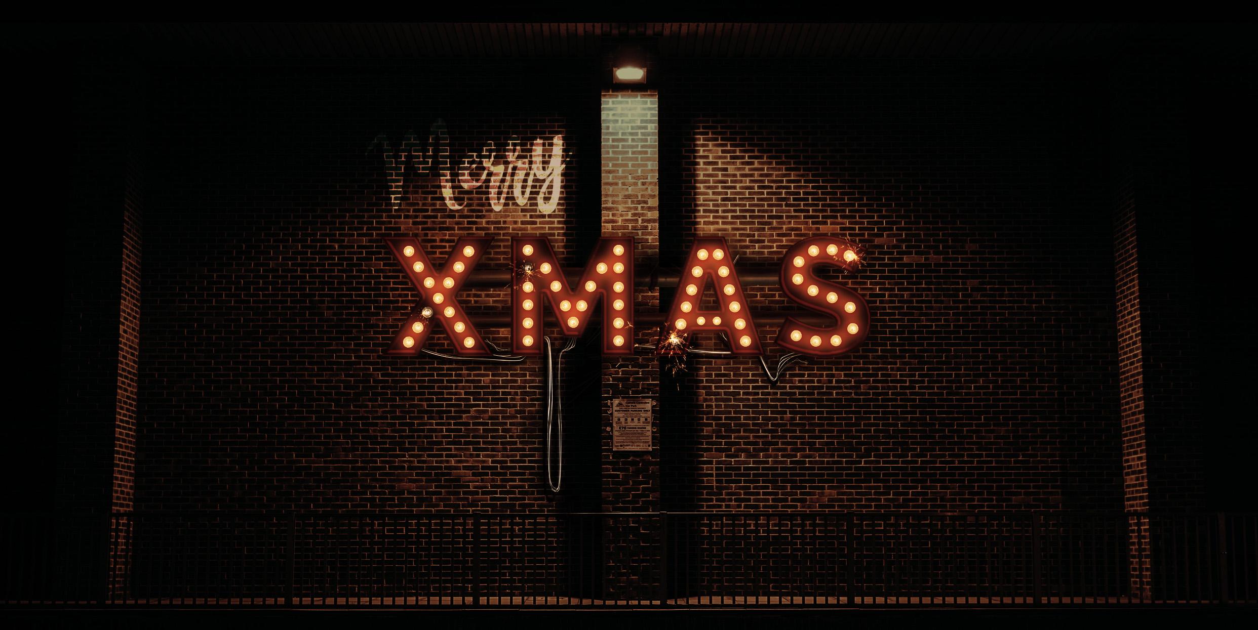 Lightbulb Merry Christmas Signs | 14-Image Bundle example image 2