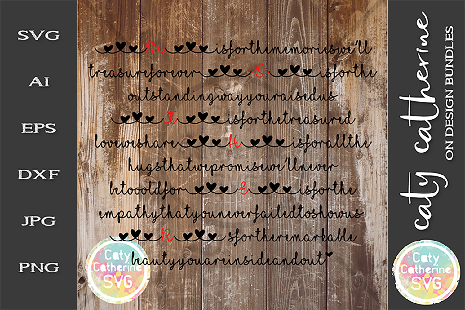 M Is For Mother's Day Poem From Us SVG Cut File example image 1