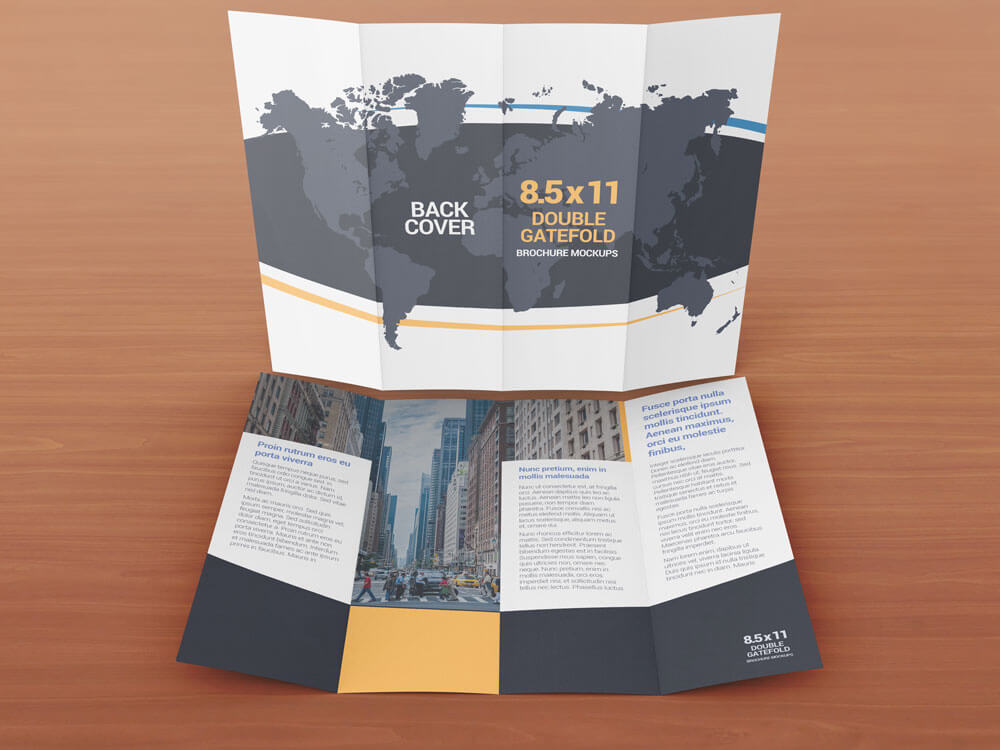 8.5 x 11 Double Gate Fold Brochure Mockups example image 3