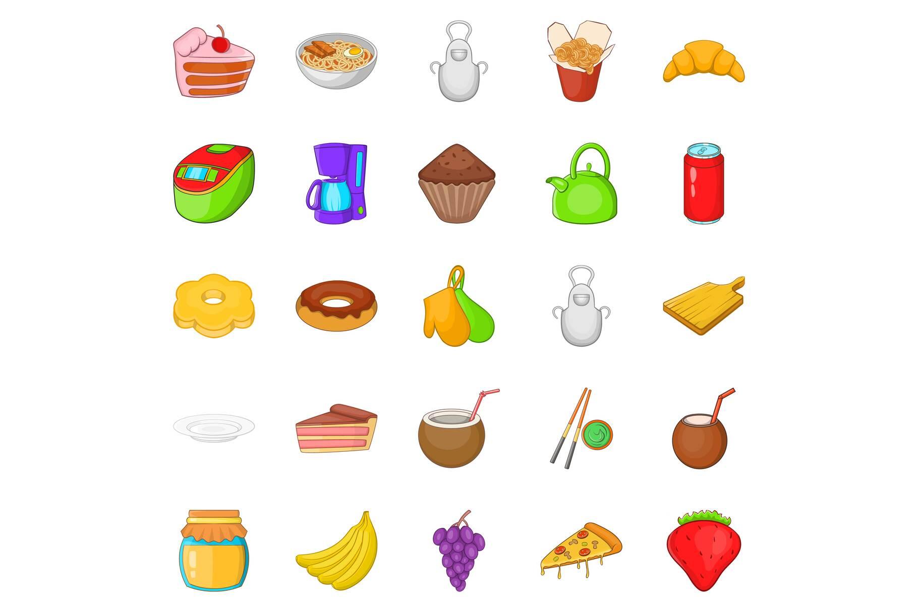 Nosh icons set, cartoon style example image 1