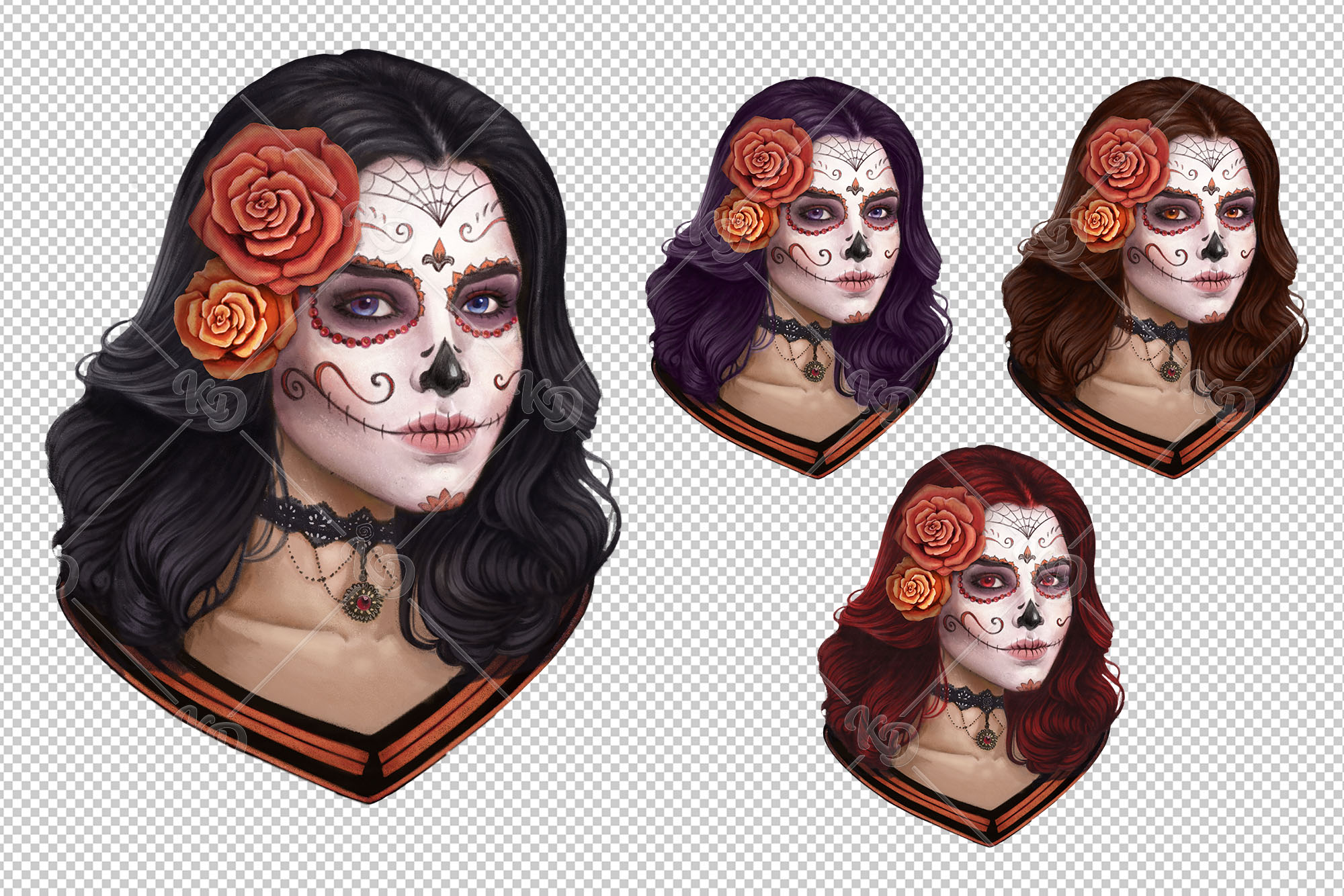 Sugar Skull Clipart, Mexican Lace Clipart, Day of the Dead example image 2