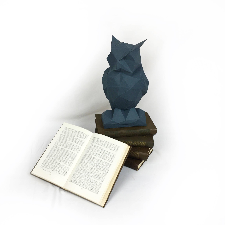 Night Owl, Papercraft Owl, Paper Owl, Animal Trophy, Loft Decor, Home Decor, 3D papercraft model, animal head, lowpoly DIY, hobby idea, DIY example image 4