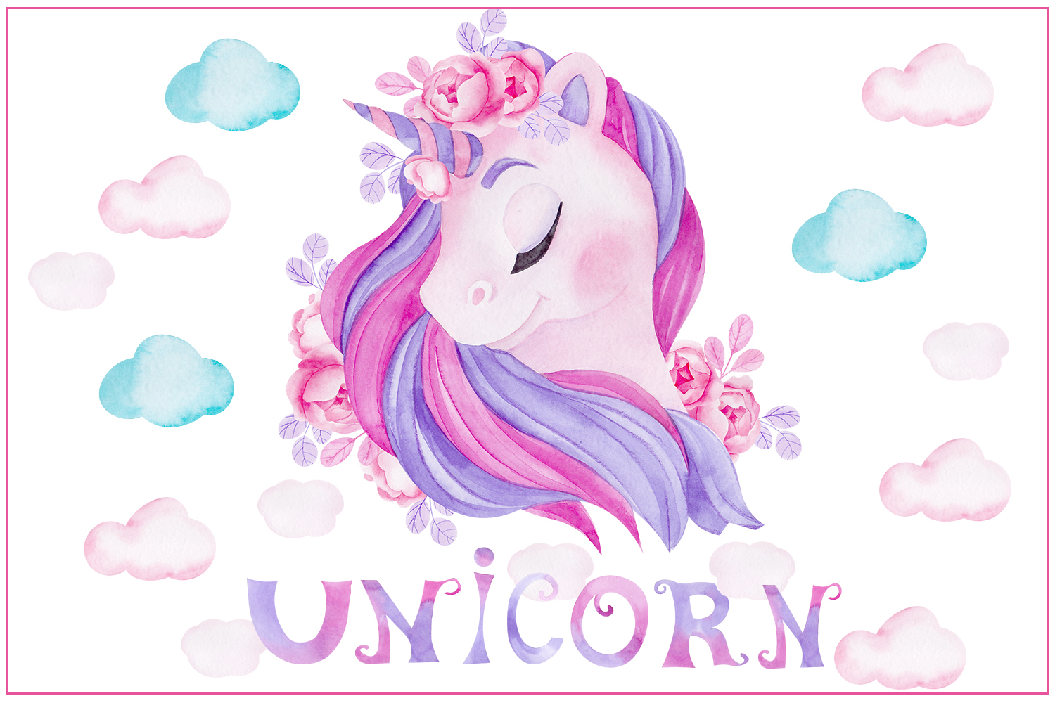 Cute unicorn. Illustrations and alphabet example image 1
