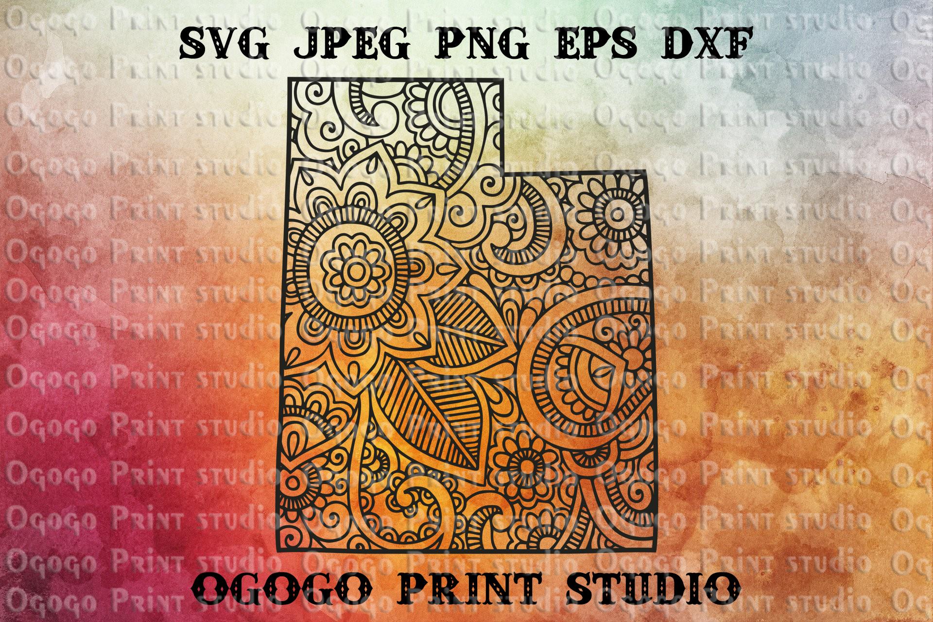 Utah SVG, Map Zentangle SVG, Mandala svg, Travel example image 1