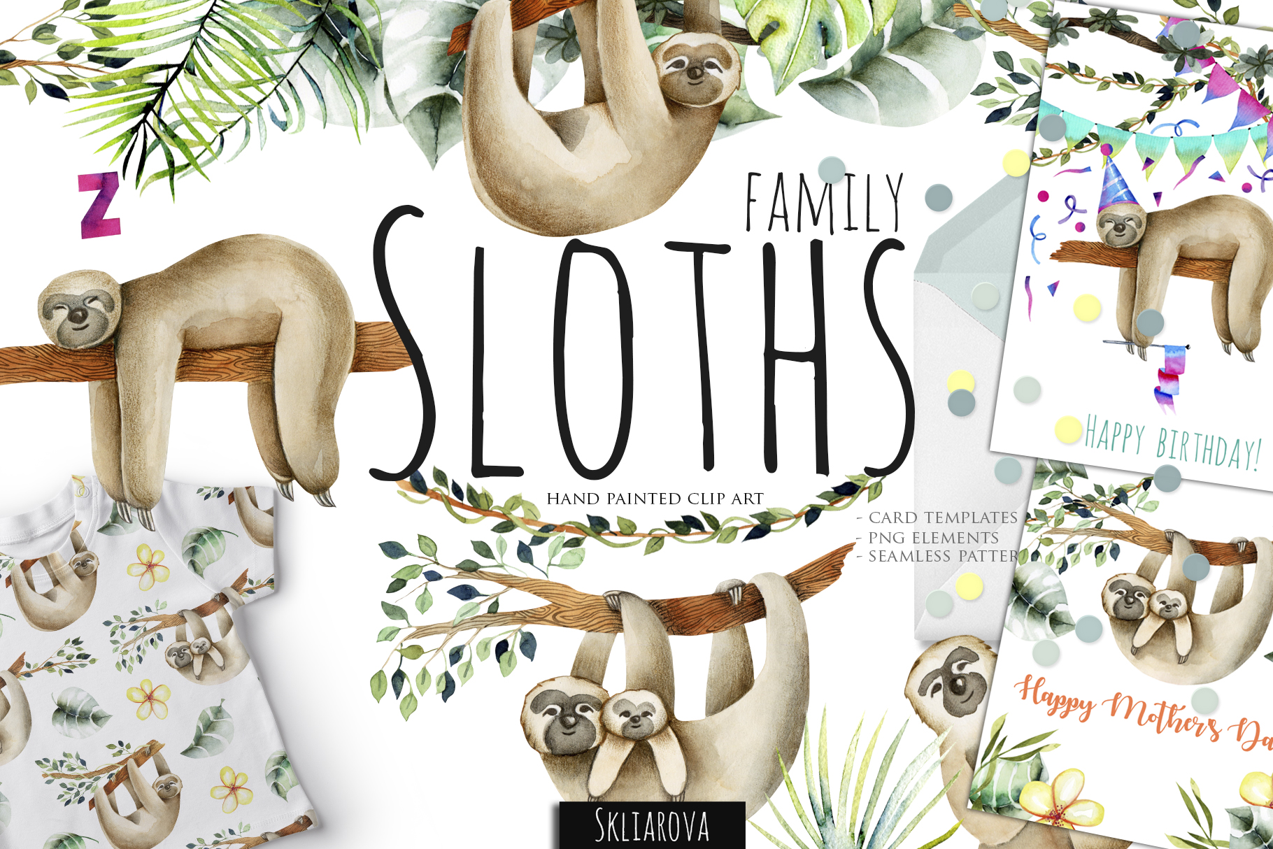 Sloths family. Watercolor clipart. example image 1