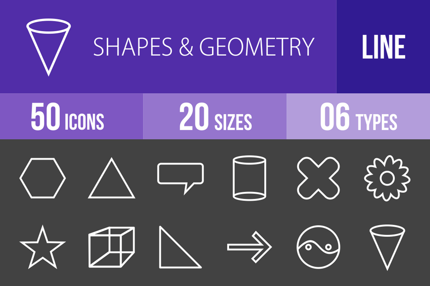 50 Shapes & Geometry Line Inverted Icons example image 1