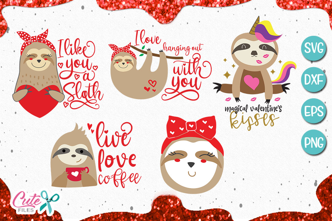 Valentines sloth bundle svg for crafter example image 1