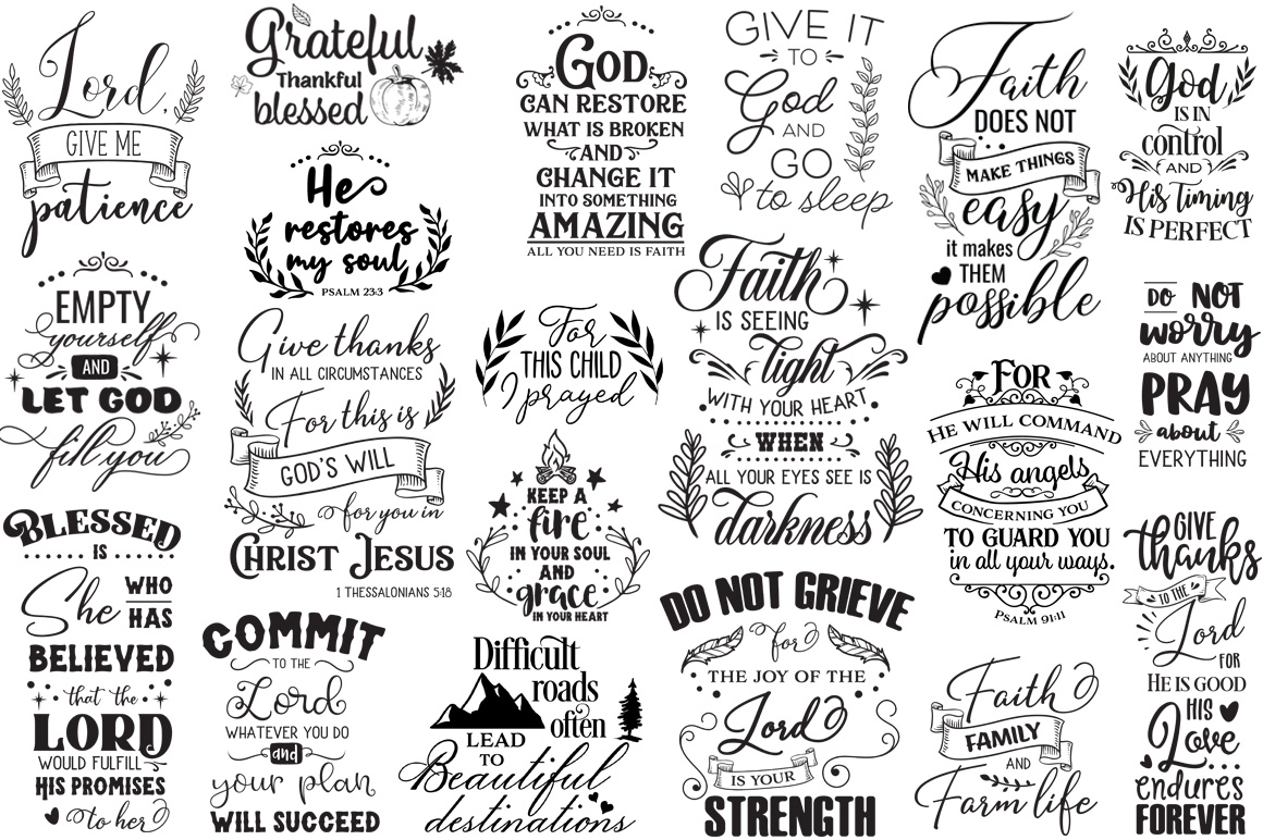 100 Religious Quotes Cut Files Pack example image 3