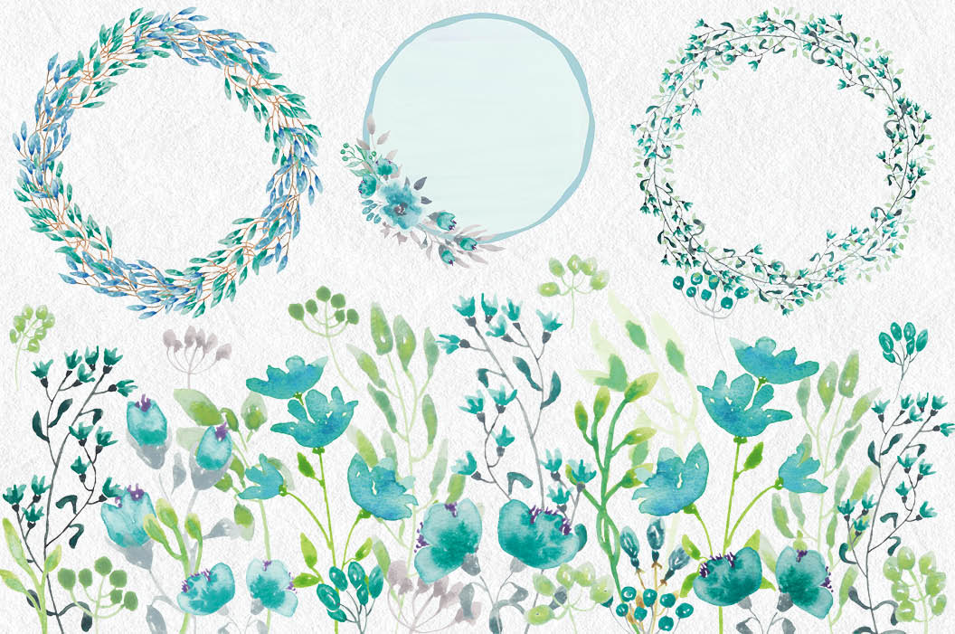Watercolor clip art bundle: turquoise flowers example image 4