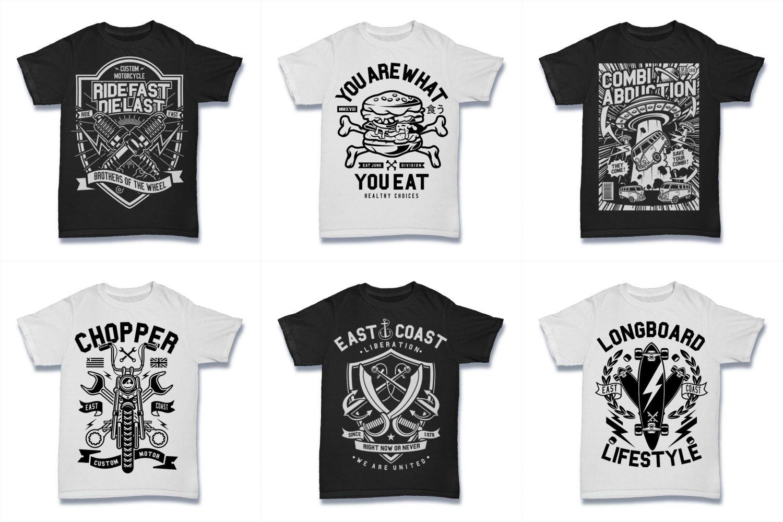 100  Vector Tshirt Designs ( B/W Concept ) example image 17