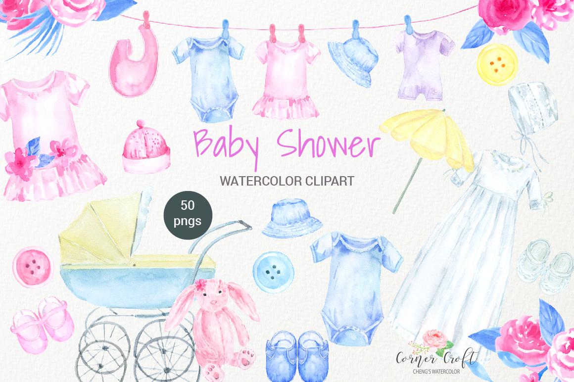 Watercolor Clipart Baby Shower Baby Cloth Pram Crib