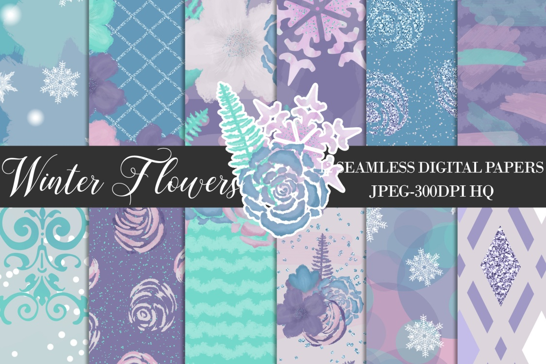 Winter Flowers Digital Papers, Winter Backgrounds example image 1