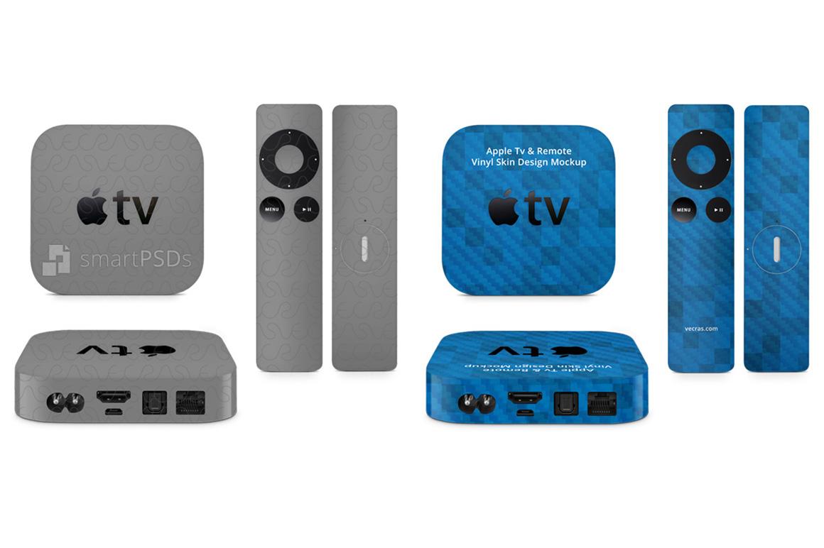 Apple TV & Remote 2nd and 3rd Generation Vinyl Skin Design Mockup example image 1